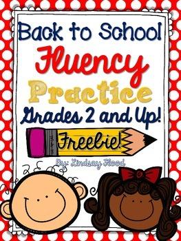 {FREE} Back to School Fluency Practice {Grades 2-5}