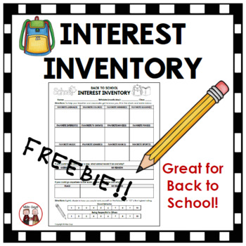 FREE Back to School Interest Inventory for Grades 3-5