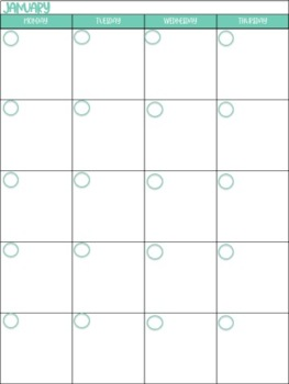 FREE Back to School Monthly Calendar Printables