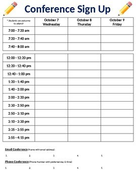 "FREE - Back to School Night ""Conference Sign-Up Sheet"" (K-6)"