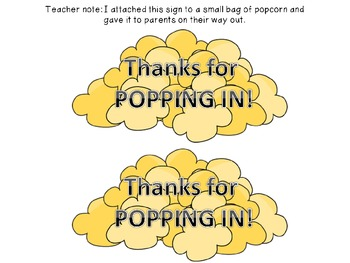 Back-to-School Night Parent Communication Notes (Popcorn-themed!) FREEBIE