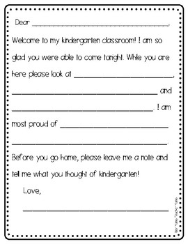 FREE Back-to-School Night Parent Letter Form
