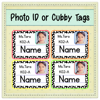 FREE Back to School PHOTO Editable ID or Cubby Tags - Polka Dots - Pre-K & KG