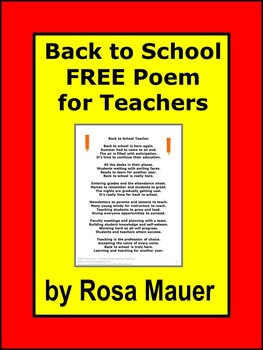 FREE Back to School Poem for the Teacher