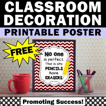 FREE Classroom Poster, No One Is Perfect Motivational Quote