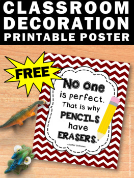 FREE Printable Back to School Poster, No One Is Perfect Motivational Quote