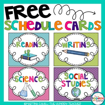 FREE Back to School Schedule and Subject Cards