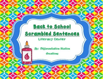 FREE!  Back-to-School Scrambled Sentences, Common Core Aligned