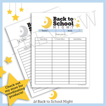 FREE Back to School Night Sign In Sheet // Color & Greyscale