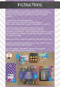 FREE DIY Back to School Student Gift Bag