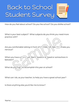 FREE Back to School Student Survey Mental Health