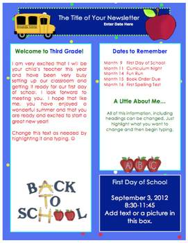 FREE Back to School / Welcome Back Newsletter Template - Fall