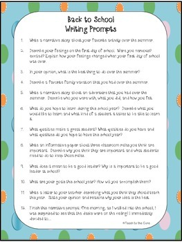 FREE! Back to School Writing Prompts with Writing Paper
