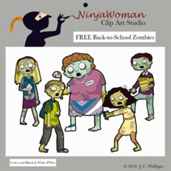 FREE Back-to-School Zombie Clip Art