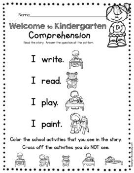 FREE Back to School in Kindergarten Activities - Book - Worksheets