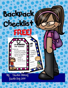 FREE Backpack Checklist