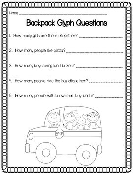 Backpack Glyph Math Activity