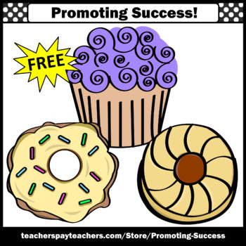 FREE Bakery Clip Art, Donut Clipart, Cookie, Cupcake SPS