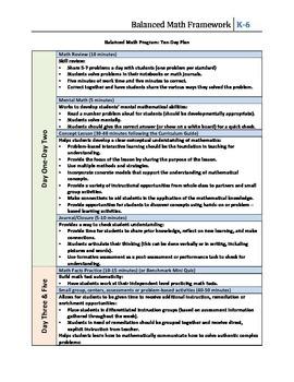 FREE Balanced Math Framework 10-Day Plan