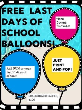 FREE Balloon Pop Days....Print and Pop!
