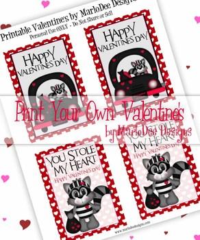 FREE Bandit Racoon Love Printable Childrens Valentine Cards d1
