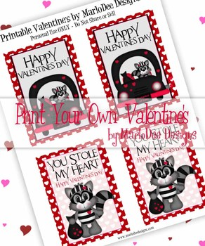 FREE Bandit Racoon Love Printable Childrens Valentine Cards d1