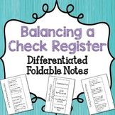 {FREE} Balancing a Check Register Vocabulary Foldable Notes {Differentiated}