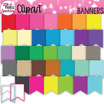 FREE Banner Bunting Clipart Rainbow and Neon