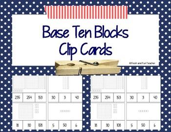 Base Ten Block Clip Cards {Freebie}