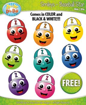 FREE Baseball Sport All-Star Smiley Clipart Set Faces Emot