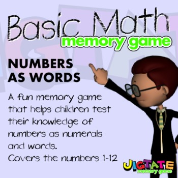FREE! Basic Math - Numbers as Words Memory Game