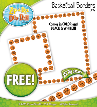 FREE Basketball Borders Clipart {Zip-A-Dee-Doo-Dah Designs}