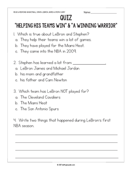 FREE Basketball Paired Texts: LeBron James and Steph Curry: (Grades 1-2)