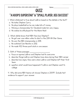 FREE Basketball Paired Texts: LeBron James and Steph Curry: (Grades 3-4)