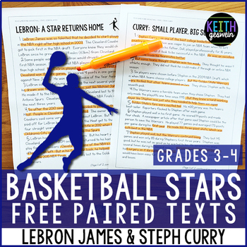 FREE Basketball Paired Texts: LeBron James and Steph Curry