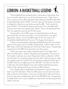FREE Basketball Paired Texts: LeBron James and Steph Curry: (Grades 5-6)