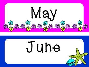FREE Beach Themed Calendar Headers