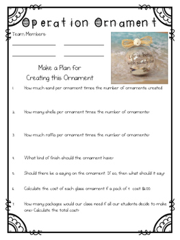 FREE Beach Themed Chrismtas Ornament STEM Planning Guide