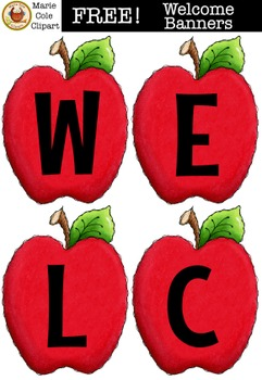 FREE!!! Bear Welcome Banner/Apple Welcome Banner [Marie Cole Clipart]