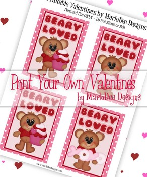 FREE Beary Loved Printable Childrens Valentine Cards d1