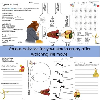 FREE - Beauty and the Beast Movie - Worksheets  BTS2017
