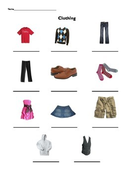FREE Beginner ESL Vocabulary - CLOTHING