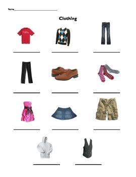 FREE Beginner ESL Vocabulary - CLOTHING