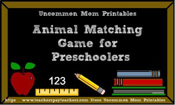 FREE Beginner Preschool Matching Game - Animals