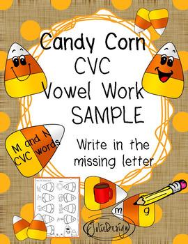 FREE Beginner Reading CVC Vowel Work NO PREP Fall Worksheet
