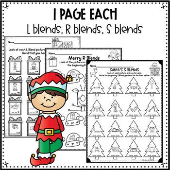 FREE Beginning Consonant Blends Practice Christmas Themed