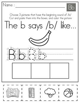 FREE - Beginning Sounds Color Cut and Paste