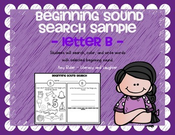 FREE Beginning Sounds Search, Color, & Write SAMPLE (letter B)