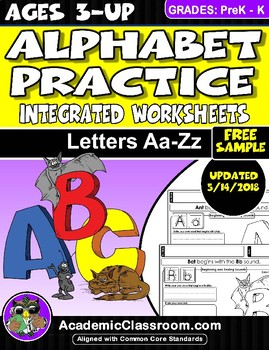 FREE Alphabet Practice: Letters A-Z Integrated Worksheets