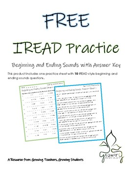 FREE Beginning and Ending Sounds IREAD Practice Third Grade